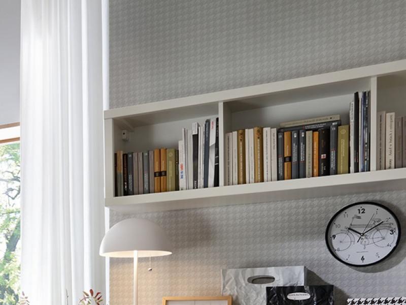 White Wall Cabinet Storage Open Unit Shelf 143.5cm Shelving  - Kaspian (S128-SFW/140-BI-KPL03)