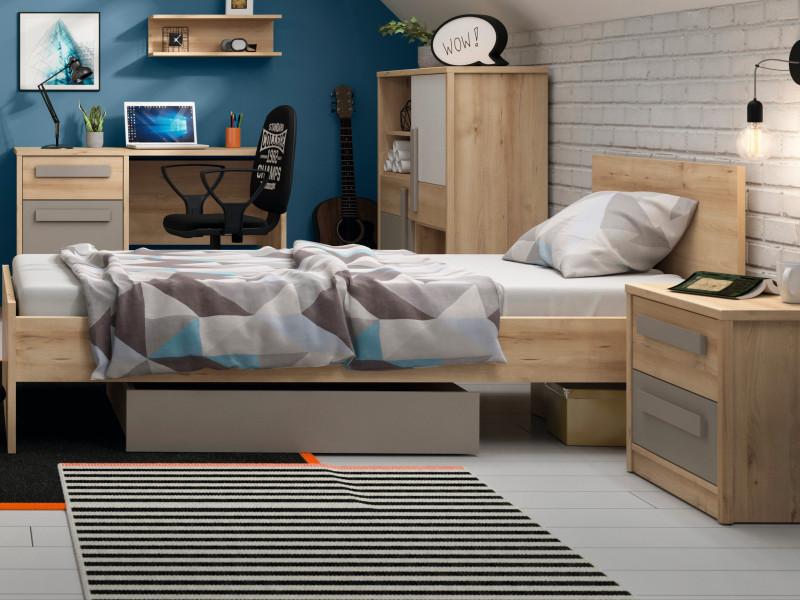 Modern Single Bed Frame Beech Effect High Headboard with Solid Wood Slats - Namek (S412-LOZ/90-BUI-KPL01)
