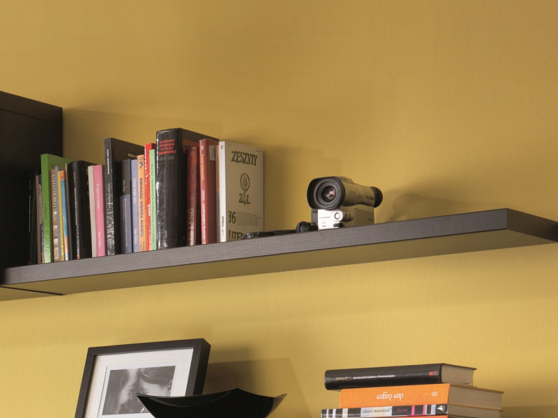 Modern Short Shelf Floating Wall Mounted Design Wenge Dark Wood Effect Finish 105cm - Kaspian (S128-POL/100-WE-KPL03)