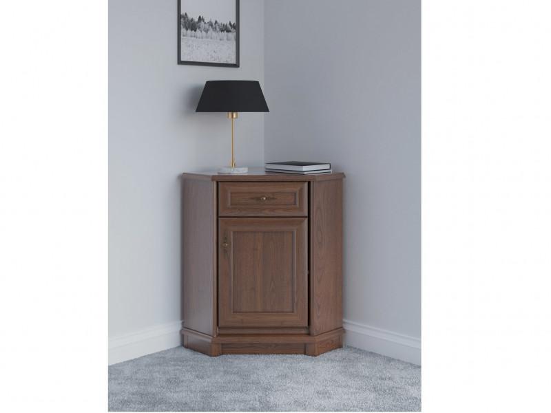 Vintage inspired Sideboard Corner Dresser Cabinet Dark Wood Tone - Kent (EKOM 1DSN)