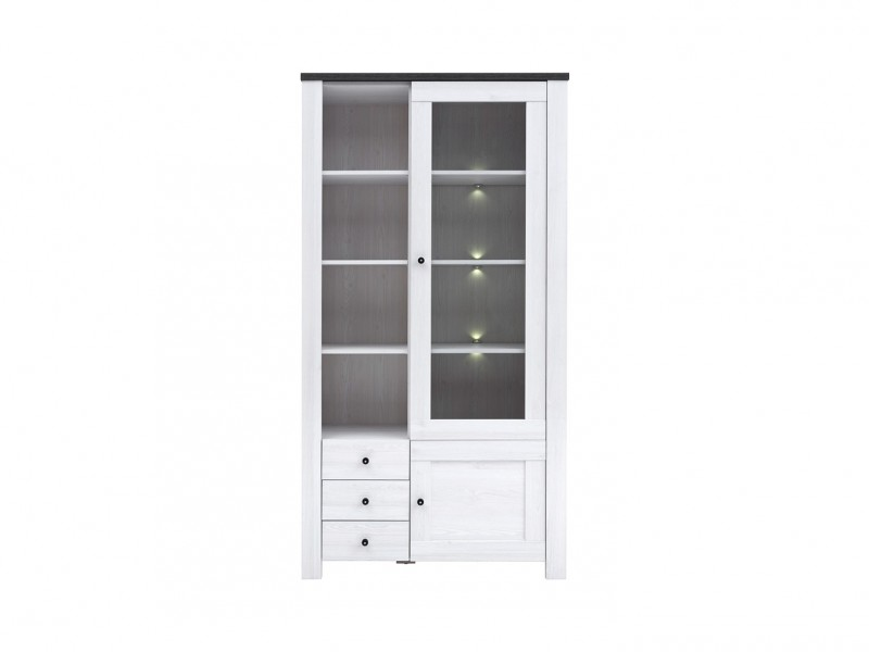 Glass Display Cabinet with LED Lights - Antwerpen (S214-REG1W1D3S/20/10-MSJ/SOL-KPL01)