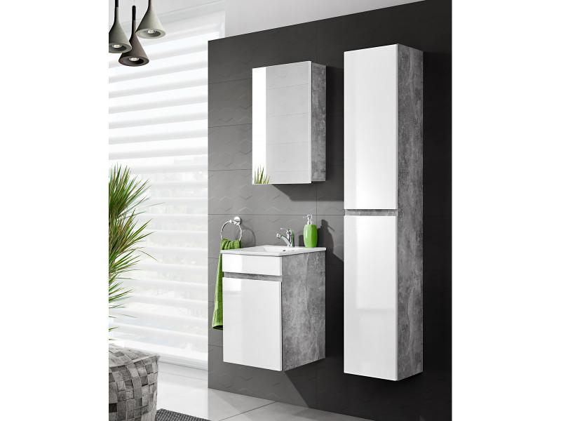 Modern Wall Vanity Bathroom Sink Cabinet Set 40cm Ceramic Sink White Gloss/Concrete - Atelier (ATELIER_823_SET)
