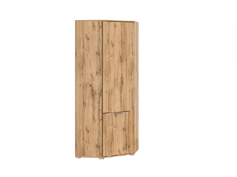 Modern Compact Oak Corner 1 Door Single Wardrobe with Rail and Shelf - Zele (S383-SZFN1D-DWO-KPL01)