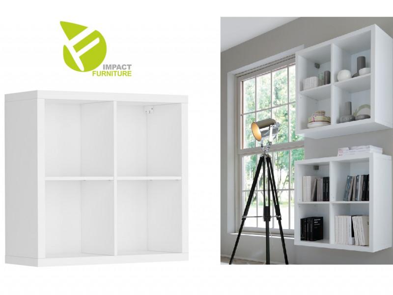 Modern White 4 Cube Storage Unit Wall Mounted Shelf Cabinet Display for Hallway Bedroom - Nepo (S435-SFW/8/8-BI-KPL01)