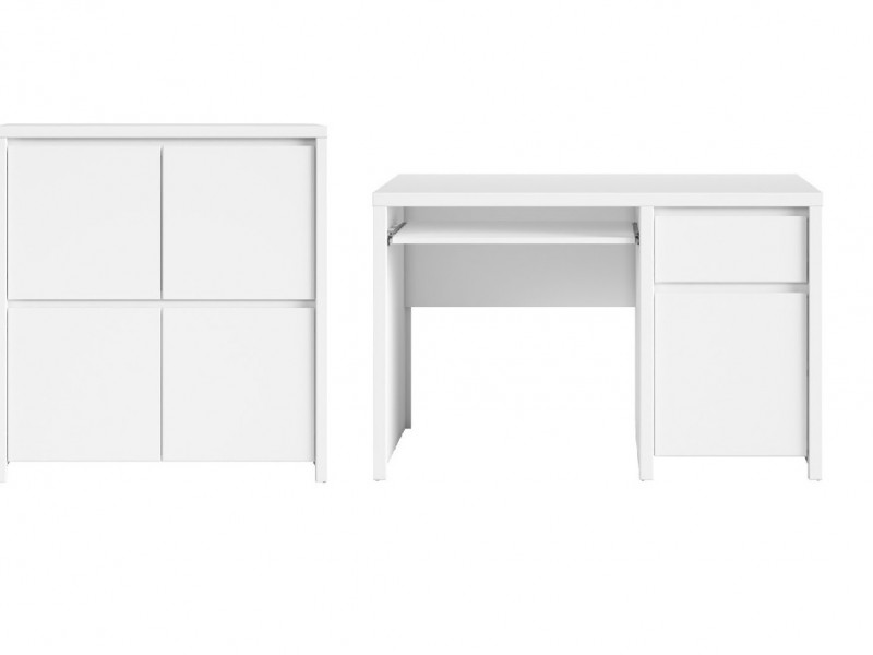 White Matt Office Study Furniture Set 1 - Kaspian (KASPW OFF SET1 BI)