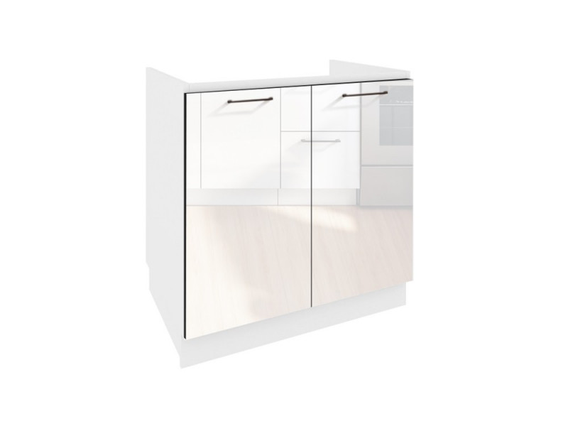 White High Gloss Kitchen Sink Cabinet Cupboard 80cm Unit - Roxi (Roxi D80 ZL P/L)