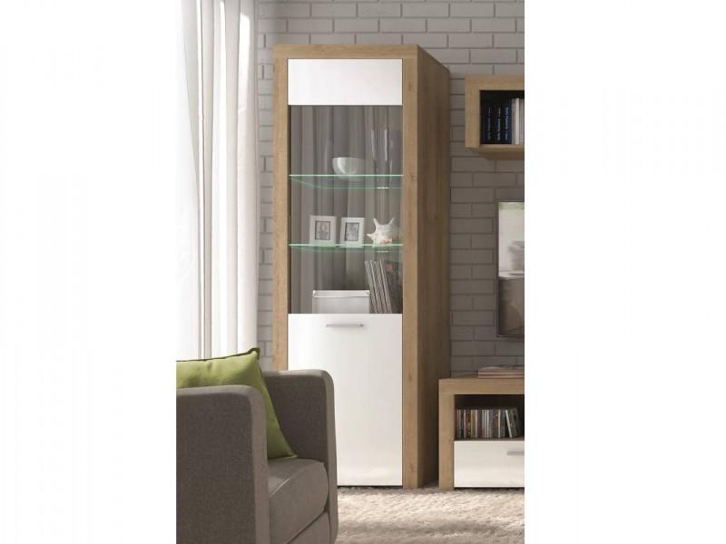 Modern Tall Glass Display Cabinet 1 Door Storage Unit with LED Lighting Oak Effect and White Gloss - Balder (S382-REG1W-DRI/BIP-KPL01+LEDS)