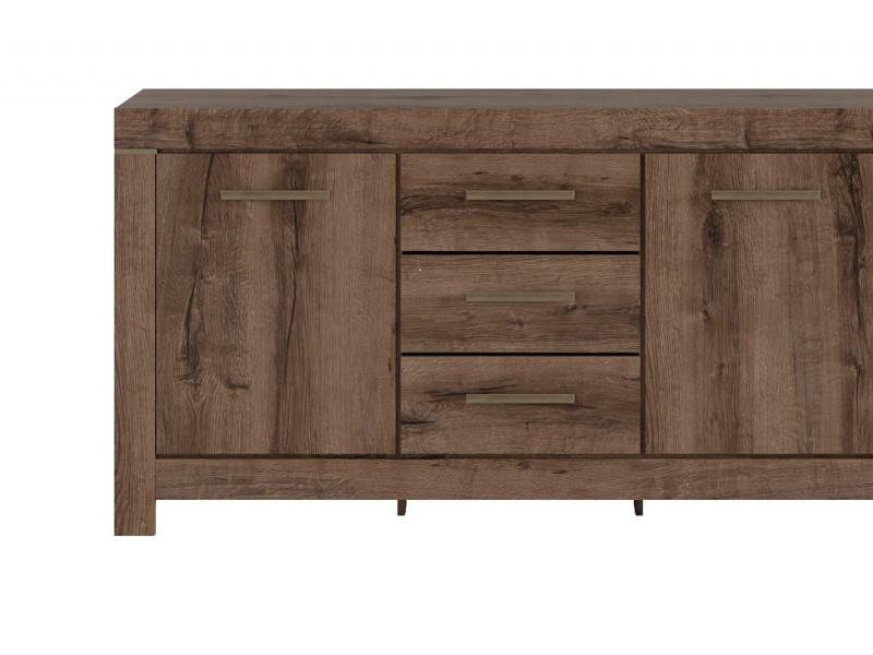 Modern Living Room Wide Sideboard Dresser Storage Cabinet 2 Door Unit with 3 Drawers Oak - Balin (S365-KOM2D3S-DMON-KPL01)
