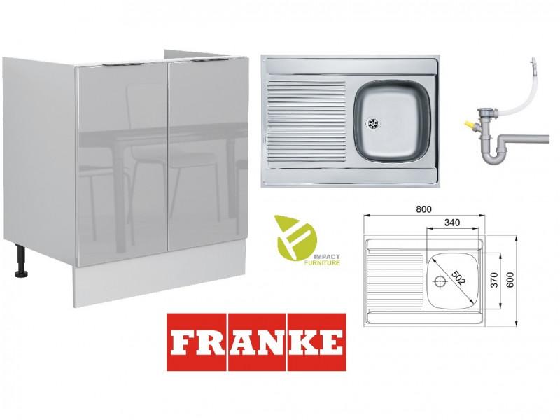 Light Grey Gloss Kitchen Sink Cabinet 80cm Cupboard 800 Unit + Franke Single Bowl Steel Sink - Luna (STO-LUNA-D80_ZL-SZ-SZP-KP01+FRANKE-SINGLE-SINK)
