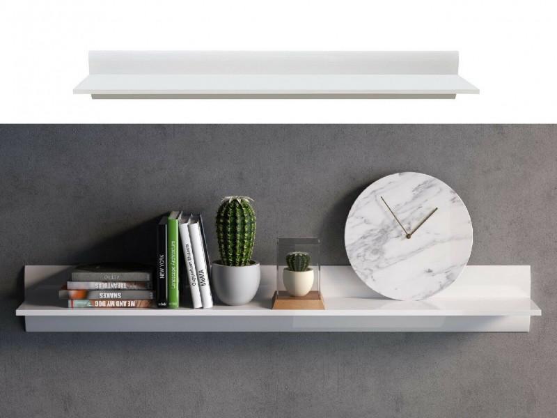 White High Gloss Modern Wall Mounted Shelf Floating Long Display Panel 150cm Bookshelf - Azteca Trio (S504-P/2/15-BI/BIP-KPL01)