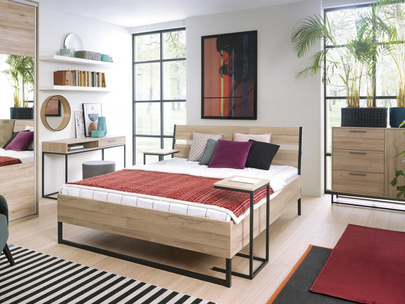 King Size Bedroom Furniture Set Minimal Industrial Chic Metal And Light Oak Finish Impact Furniture