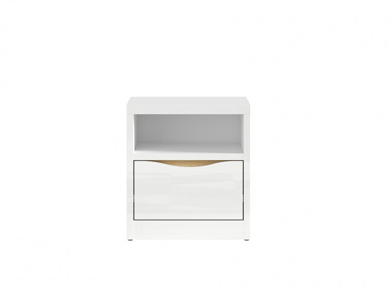 Modern Bedside Cabinet Drawer Storage Unit White Gloss Oak finish - Pori (L87-KNT1S-BIP-KPL01)