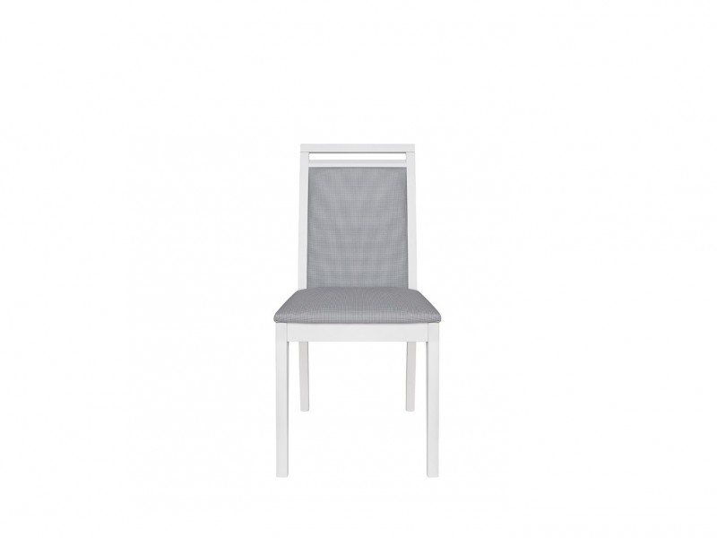 Minimalist White Dining Chair with Grey seat pad - Dinaro
