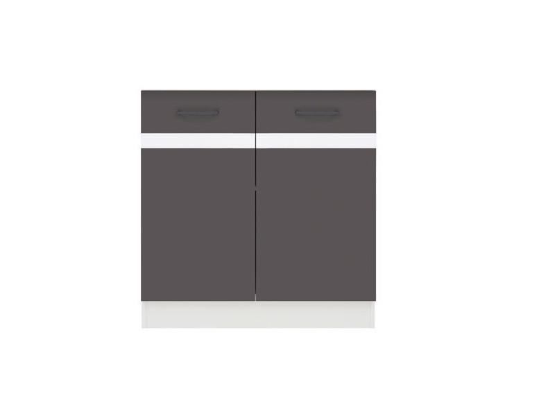 Modern Free Standing Kitchen Cabinet Cupboard Under Sink Unit 80cm - Wolfram Grey/White Gloss - Junona (K24-DK2D/80/82-BI/SZW-KPL01)