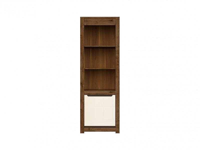 Modern Tall Bookcase Shelf Storage 1 Door Cabinet in Cream Gloss and Dark Oak - Ruso (S407-REG1D-DARL/PEP-KPL01)