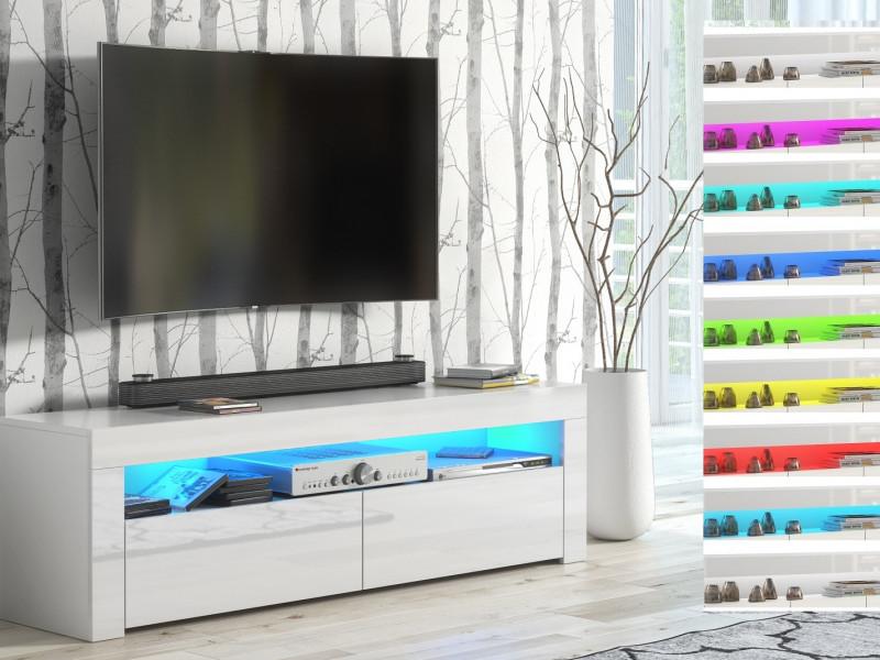 Modern White Gloss TV Cabinet Entertainment Stand Unit Media Stand RGB Colour LED Light - Lily (HOF-LILY-RTV_BI-BIP-KP01+RGB-STRIP)