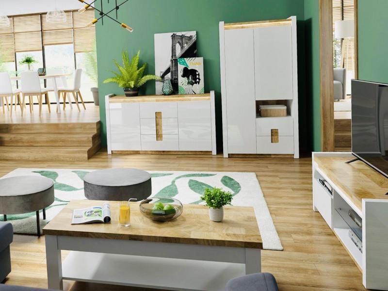Modern White Gloss Living Room Furniture Set TV Cabinet Sideboard Coffee Table LED Lights Oak finish  - Alameda (ALAMEDA-LOUNGE2)