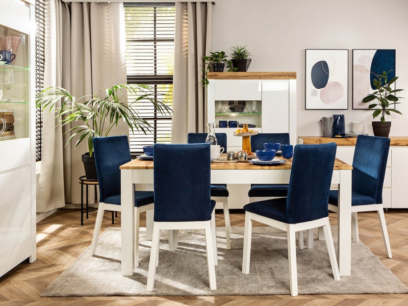 Scandinavian Oak & White Dining Room Furniture Set Extending Table & 4 Blue Velvet Chairs - Holten (D09051-STO_HOLTEN/2_CHAIR_SET_BLUE)
