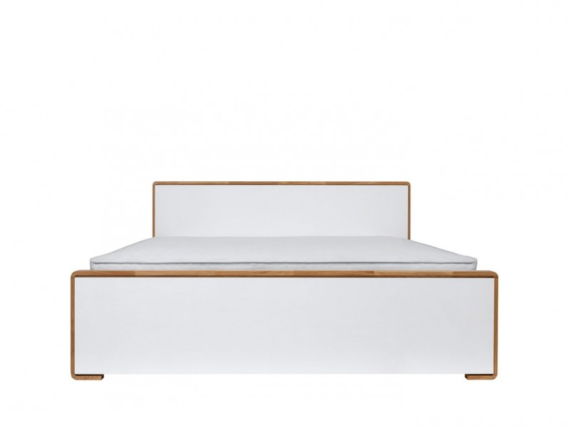 Modern White Gloss and Oak King Size Bed Frame - Bari (S332-LOZ/160-BI/DNA/BIP+D15-WKL160/L16)