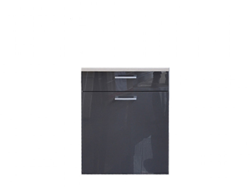 Free Standing White/Grey Gloss Kitchen Cabinet Base Unit 60cm - Modern Luxe (Luxe D60s/1)