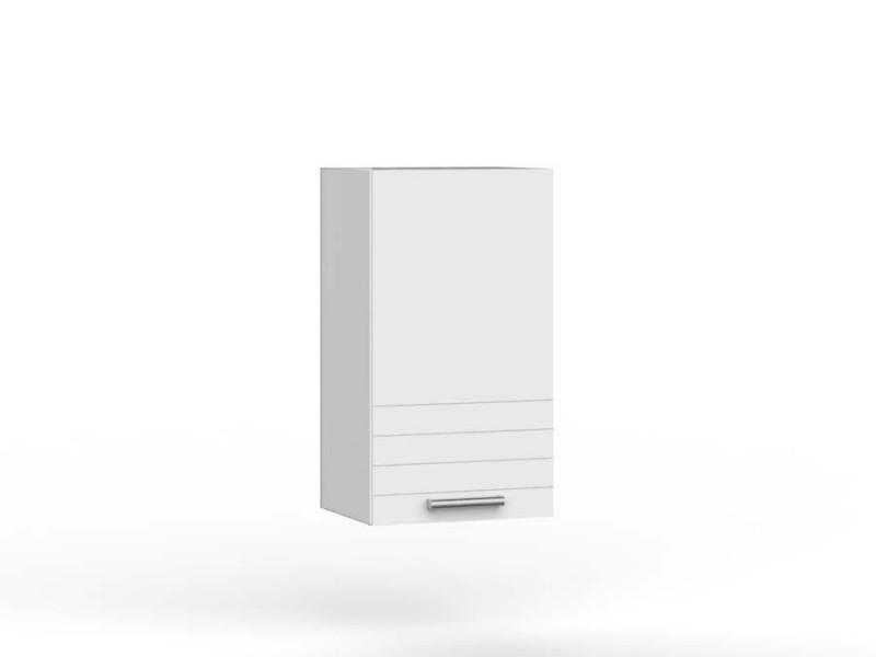 White/Light Grey Kitchen Wall Cabinet with Door 40cm Cupboard Unit - Paula (PAULA WHITE W40 P/L)