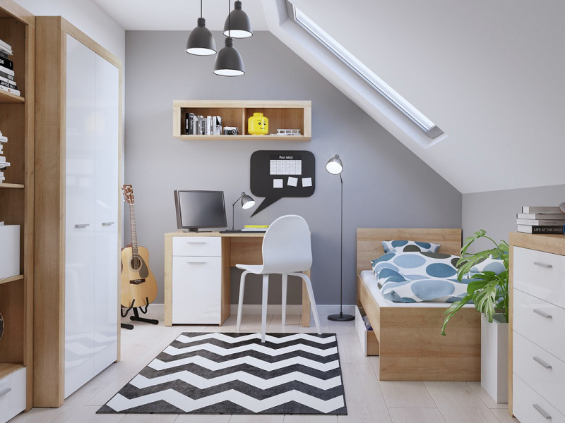 White Gloss & Oak Effect Childrens Single Euro Size Bedroom 7 Piece Set Bed Frame Desk Wardrobe  - Balder (S382-BALDER/BEDROOM1)