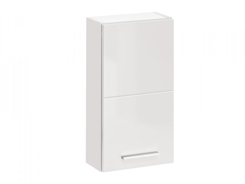Modern Narrow Wall Mounted Storage Bathroom Cabinet Unit White/White Gloss - Twist (TWIST_830_WHITE)