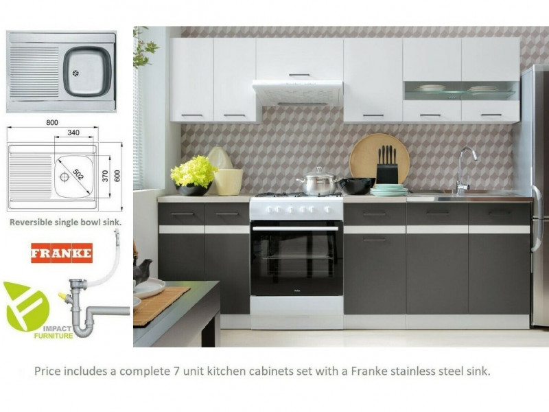 Modern Grey/White Gloss Kitchen Cabinets Cupboards Set of 7 Units with Franke Sink - Junona (K24-JUNONA_MODUL/240-BI/BIP/SZW/BNG-KPL01+SINK)
