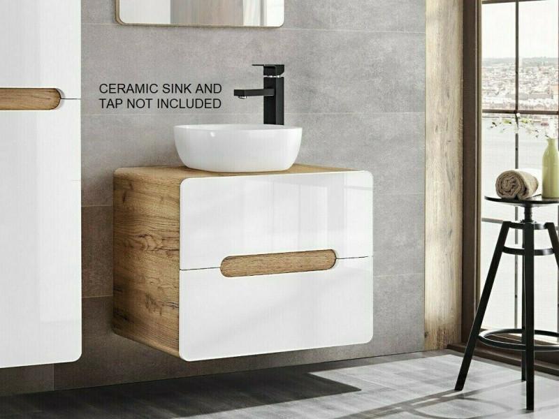 Modern 600 Bathroom Vanity Unit White Gloss/Oak 60cm Countertop Wall Cabinet Drawer Unit  - Aruba (ARUBA_828-60_CM)