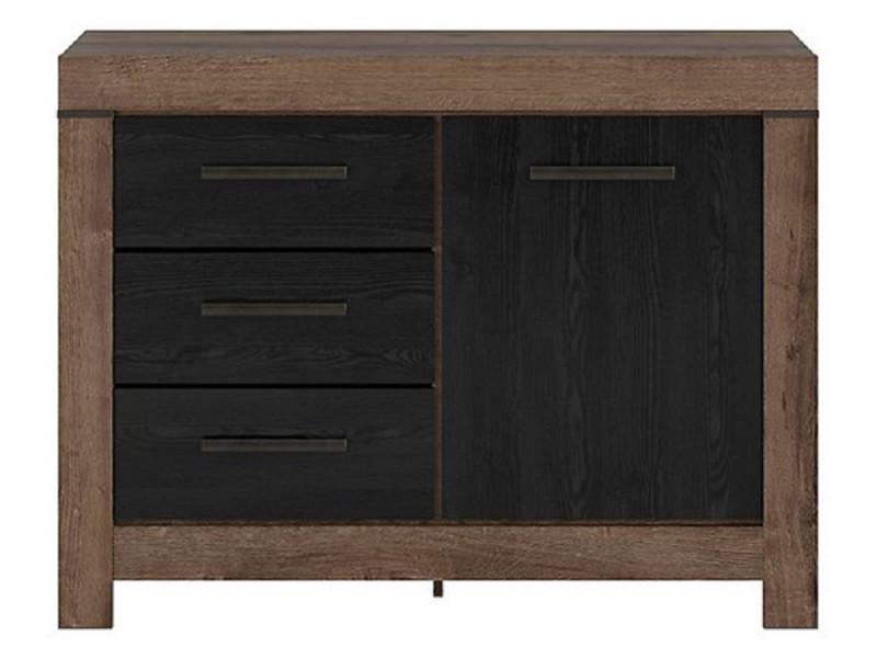 Modern Oak & Black finish Small Sideboard Dresser Storage Cabinet 1 Door Unit with 3 Drawers - Balin (S365-KOM1D3S-DMON/DCA-KPL01)