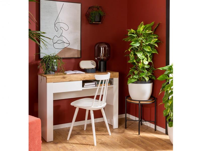 Scandinavian Small Narrow Compact Desk Home Office Study Console Dressing Hall Table with Drawer White Gloss/Oak - Holten (S440-BIU1S-BI/DWO/BIP-KPL01)
