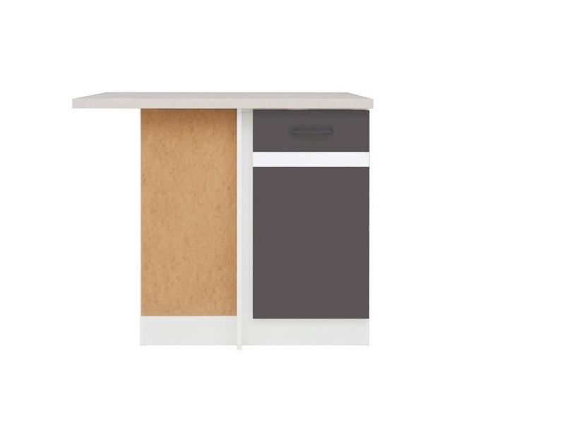 Modern Free Standing Kitchen Cabinet Corner Base Unit 100cm Left - Wolfram Grey/White Gloss - Junona (K24-DNW/100/82_L-BI/SZW/INC-KPL01)