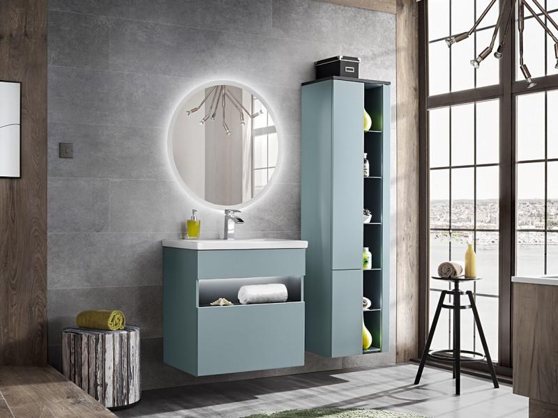 Modern Mint Grey Bathroom Furniture Set Wall 60cm Vanity Ceramic Sink Tall Cabinet Unit - Bahama (BAHAMA_820_SET_MINT_60CM)