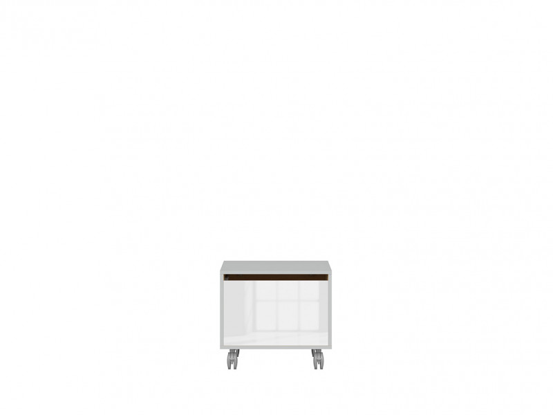 Modern Mobile Storage Unit Trunk Chest Box on Wheels Soft Closing White Gloss/Grey/Oak - Nandu (S441-KTN1K-JSZ/DP/BIP-KPL01)