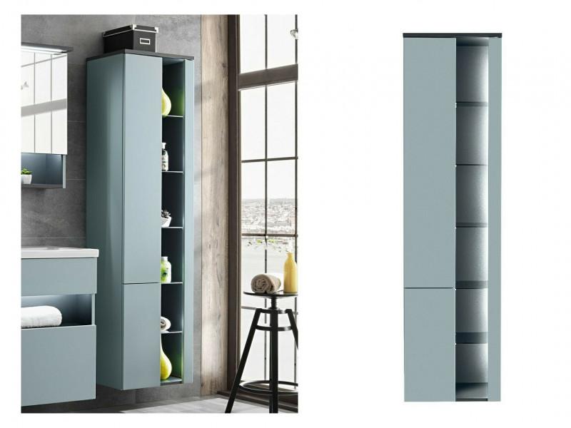 Modern Mint Grey Wall Hung Bathroom Tall Cabinet Storage Unit with LED Light Glass Shelves - Bahama (BAHAMA_800 _MINT)