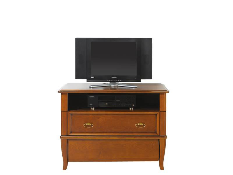 Vintage inspired TV Stand Cabinet Cherry Wood Veneer with 2 Drawers - Orland (RTV2S/90)