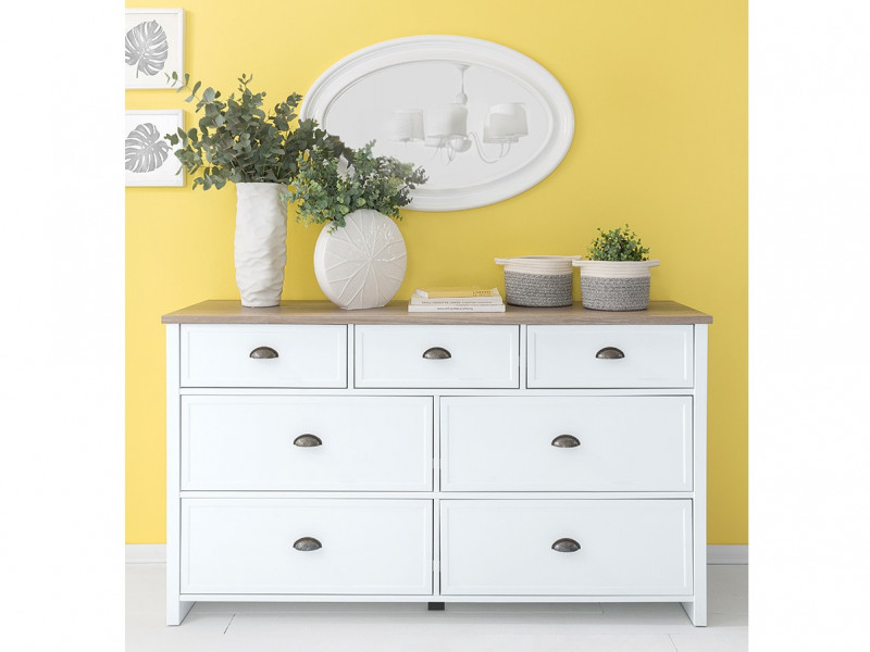 Large Chest of 7 Drawers Sideboard Storage Cabinet Unit White / Oak Finish - Cannet (S351-KOM7S-BI/DAMO/BI)