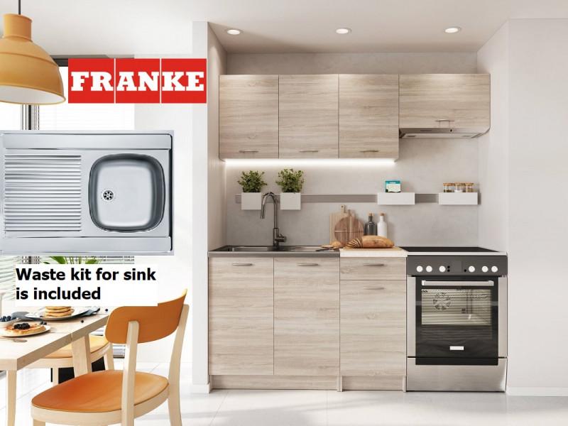 Complete Kitchen Set of 5 Cabinets Units Flat Pack in Sonoma Oak finish with Franke Sink – Nela 1 (STO-NELA_SET-5UNITS_1.2/1.8-SON-FRANKE)