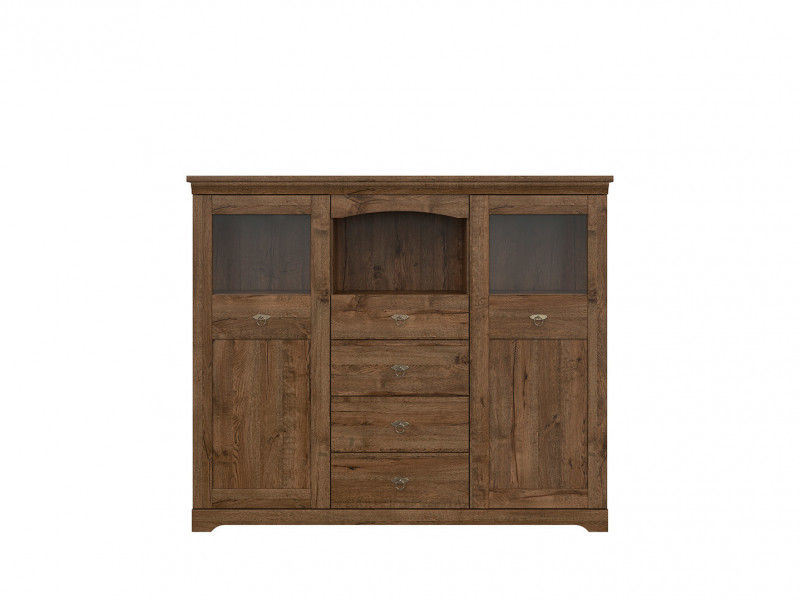 Classic 2-Door Display Sideboard Dresser Cabinet Storage Unit LED Dark Oak - Patras (S405-KOM2W4S-DARL + LED OPCJA)