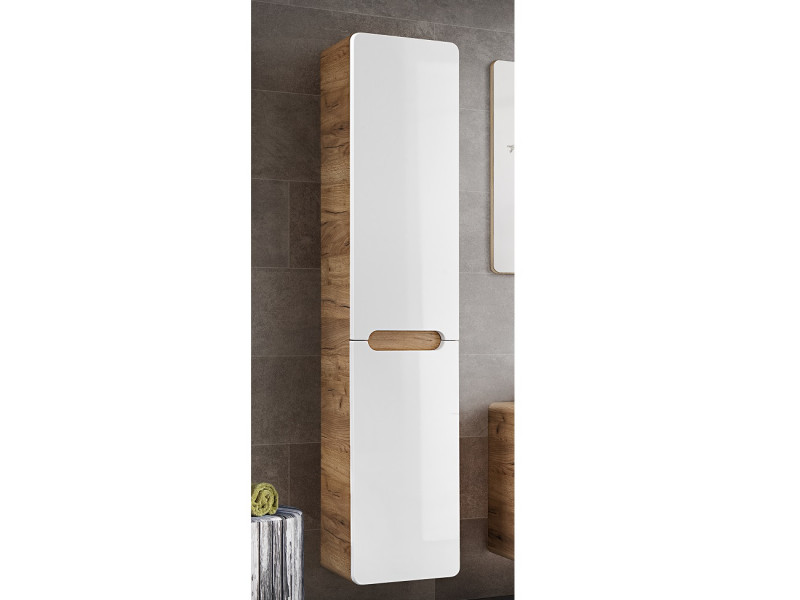 Modern White Gloss / Oak Tall Wall Mounted Bathroom Cabinet Storage Unit with Laundry Basket Hamper - Aruba (ARUBA_804)