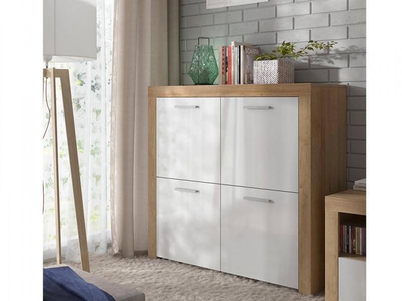 Modern Living Room Sideboard 4 Door Compact Cabinet Storage Unit Oak Effect and White Gloss - Balder (S382-KOM4D-DRI/BIP-KPL01)