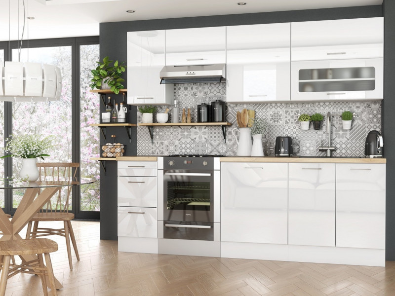 White Gloss Scandinavian Style Kitchen Cabinets Cupboards 7 Unit DIY Set 240cm - Rosi (STO-ROSI_SET-7UNITS_2.4-BI-BIP)
