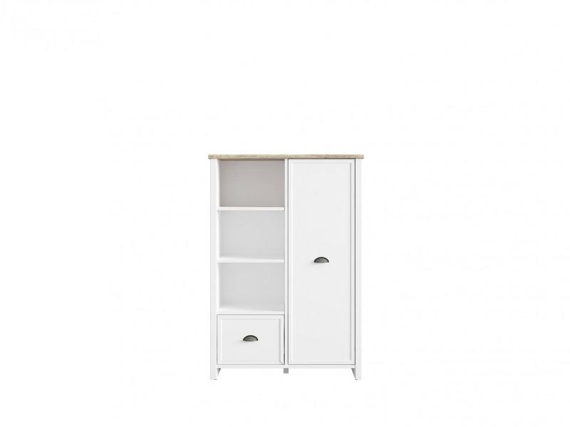 Wide Bookcase Display Cabinet 1 Door 1 Drawer Shelving Unit Oak / White Finish - Cannet (S351-REG1D1S-BI/DAMO/BI)