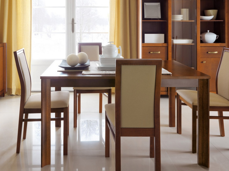Classic Extending Dining Table and 4 Chairs Room Set Solid Wood Cherry finish - Alevil (ALEVIL DIN SET)