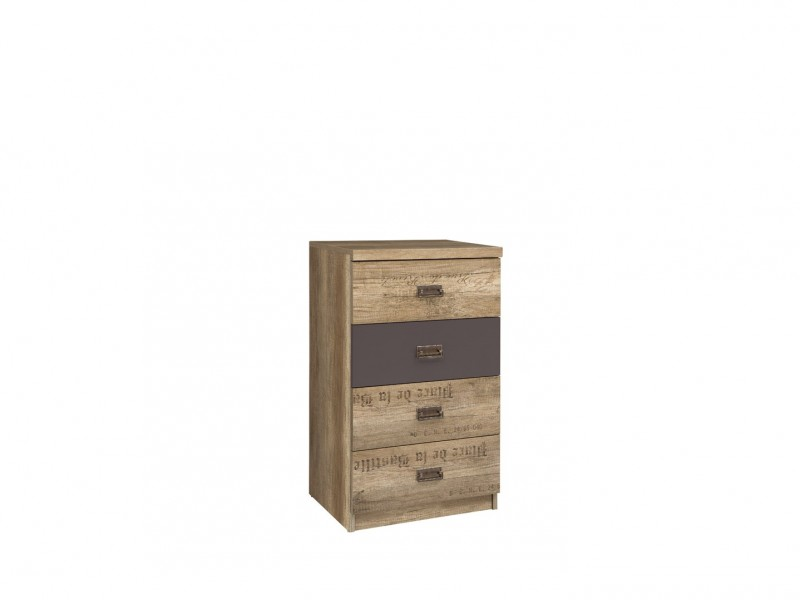 Urban Narrow Bedroom Chest of Drawers Storage Unit 4-Drawer 50cm Oak/Grey - Malcolm (S325-KOM4S/50-DAMO/SZW/DAMON-KPL01)