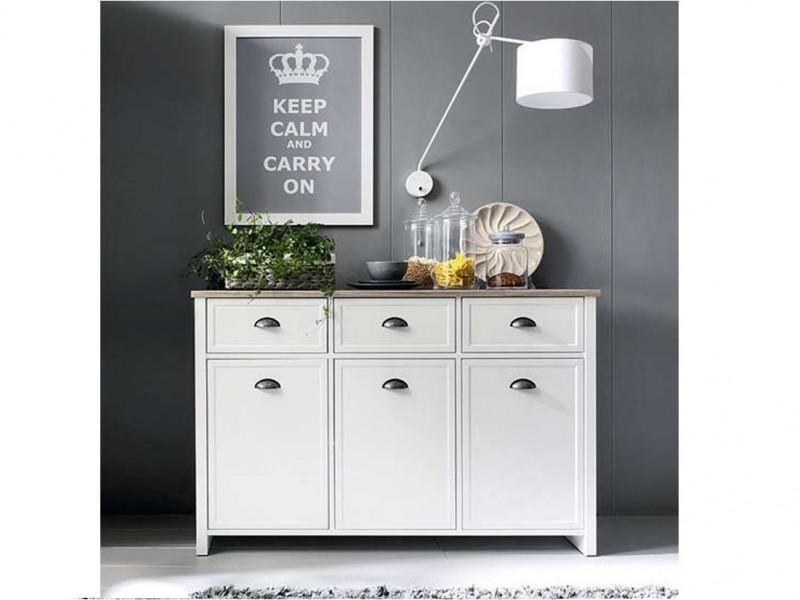 Large Sideboard Cabinet 3 Door 3 Drawer Unit Cupboard White with Oak Finish - Cannet (S351-KOM3D3S-BI/DAMO/BI)