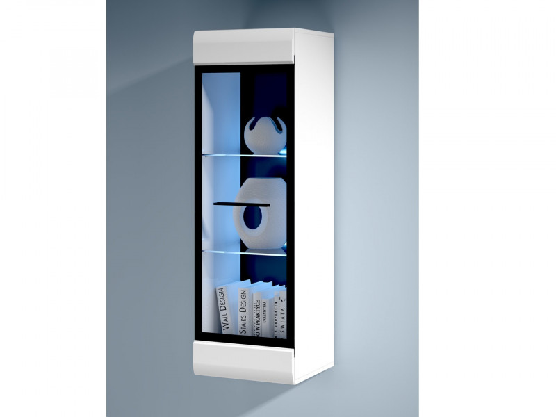 Modern Wall Mounted Display Cabinet Glass Door LED Lights Unit White/White Gloss - Fever (S182-SFW1W/12/4-BIP/CA-KPL01)