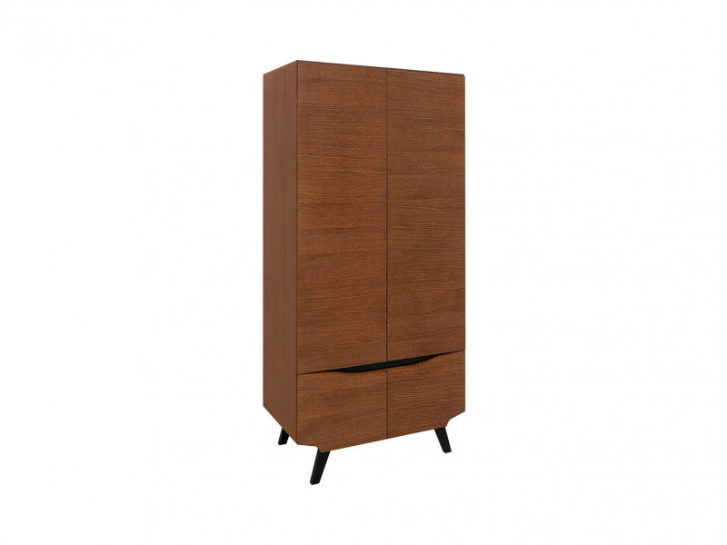 Retro Double 4 Door Wardrobe Storage Unit Bedroom Furniture Brown Oak - Madison (S431-SZF4D-DABR-KPL01)