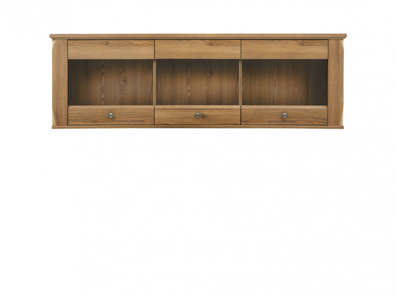 Traditional Light Oak Wall Glass Display Cabinet Living Room Storage Unit 156cm - Bergen (S359-SFW3W-MSZ-KPL01)