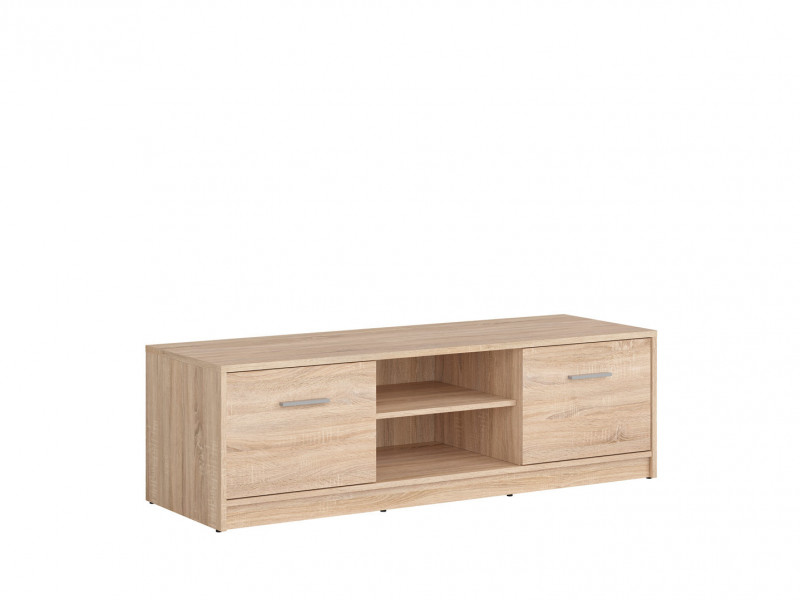 Modern Two Door TV Cabinet Stand Unit Two Shelf Entertainment Unit in Sonoma Oak Light Wood Effect Finish - Nepo (S435-RTV2D-DSO-KPL01)